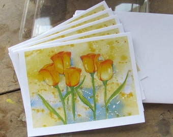 """Violet Dauk Fine Art Note Cards - Yellow Tulips, set of 5 blank (4.25"""" x 5.5"""") cards and envelopes"""
