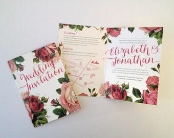 SAMPLE of Vintage Love Letters wedding invitation