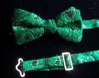 Bow Tie - Boy's, in Green  Recycled Brocade