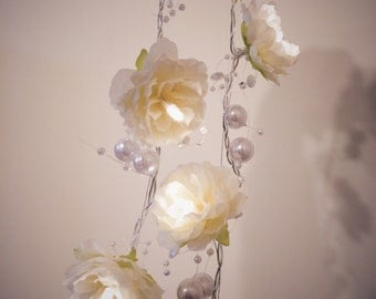 Creamy White Rose Garland Fairy Lights with Pearl Strings, White Rose Flower String Lights, Wedding Decor