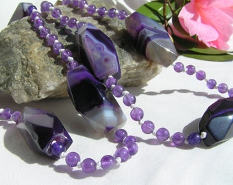 Long purple agate and amethyst necklace