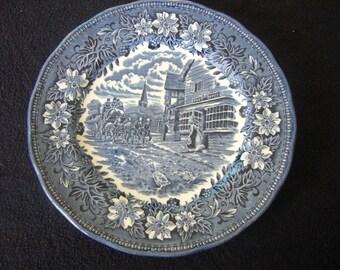 Vintage,1828 Royal Tudor Ware, Coaching Taverns, Bread Plate, Staffordshire England