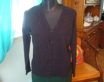 Vintage, Dark Brown, Cardigan Sweater with Sequence