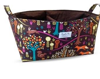 Large Fabric Nappy Caddy - Diaper Caddy - Storage Organiser Bin Basket - Woodland Forest