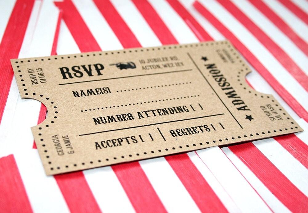 Kraft Vintage Style Carnival, Circus Themed Wedding Invitation ...
