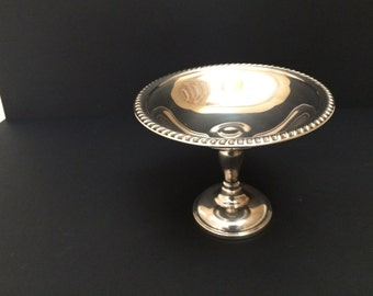 5 inch Tall Silverplate Compote with Gadroon Edge