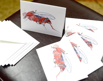 Red Flea Robotic Insect Blank Card