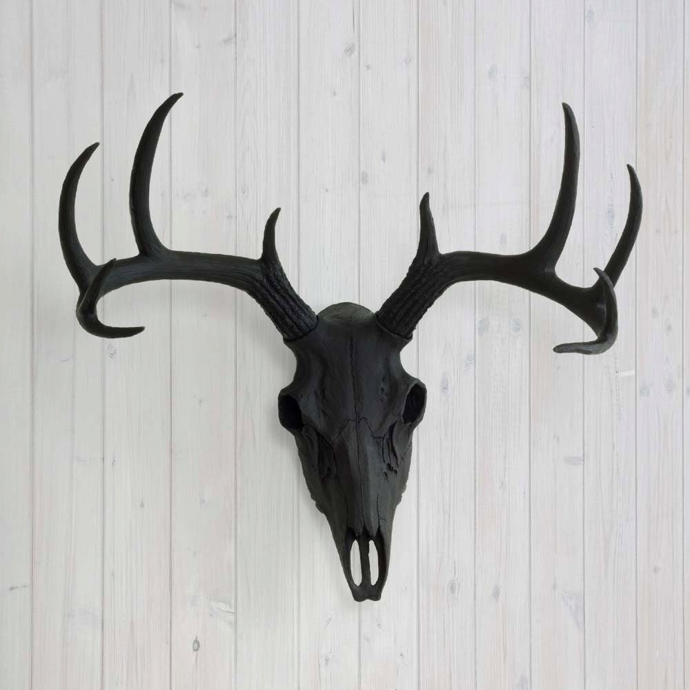 Deer skull black faux animal head by wall charmers fake zoom amipublicfo Images