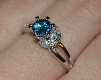 Vintage Blue Topaz or Aquamarine Swirl CZ 925 Sterling Ring