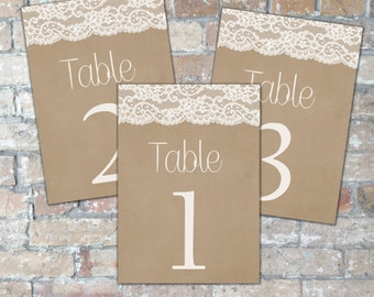 Country Chic Lace Wedding Table Numbers {Digital Download}