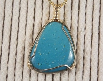 LB#278G Leland Blue Stone wire wrapped with 14k yellow gold plated wire.