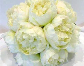 White Peony Flower Wedding Bouquet, Peony Flower Bouquet, White Peony Rose, Peony Rose Bouquet, Wedding Bouquet, Silk Peony