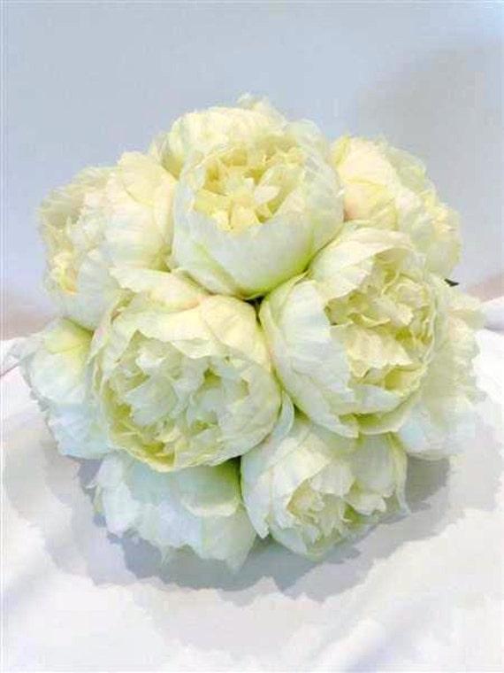 White Peony Flower Wedding Bouquet, Peony Flower Bouquet, White Peony Rose, Peony Rose Bouquet, Wedding Bouquet, Silk Peony