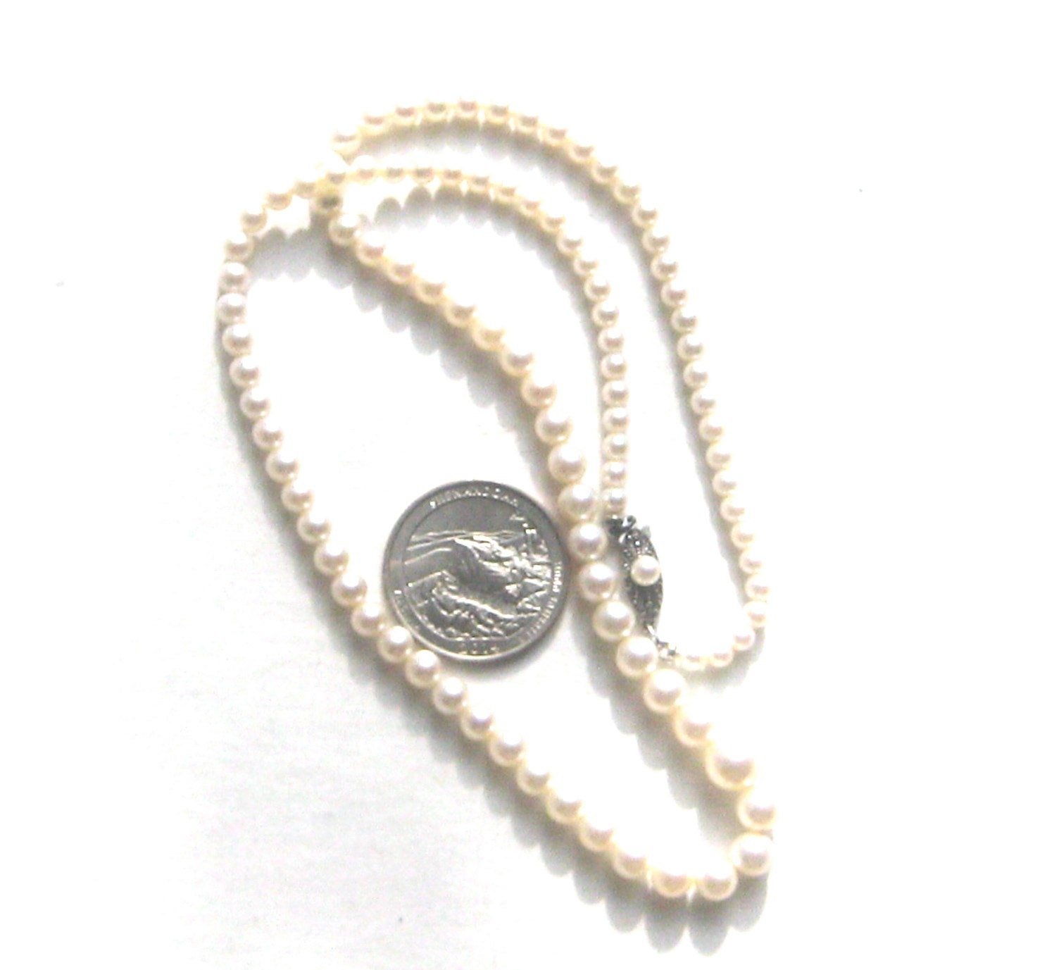 Pearl Necklace Clasp: Mikimoto Pearl Necklace White Akoya Nacre Jewelry Ornate Clasp