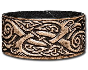 Leather Bracelet 32mm Celtic Cranes (9) brown-antique