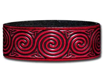 Leather Bracelet 24mm Celtic Spirals cherry red (3)