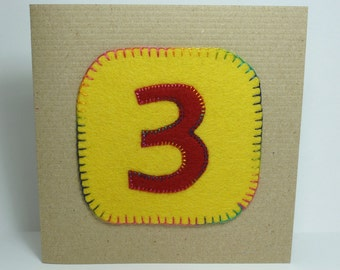 Yellow 3 Birthday fabric card for three year old girl or boy hand stitched rainbow stitching