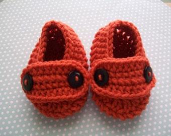 Orange Baby Booties, Orange Baby Shoes, Orange Newborn Shoes, Orange Crib Shoes, Orange Soft Baby Booties, Orange Crochet Baby Shoes