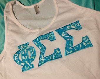 Phi Sigma Sigma White Lilly Tank Top in Size XS to XL