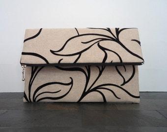 Cream black flocked purse, foldover clutch, clutch purse, bag, summer clutch, pouch, handbag, de almeida designs