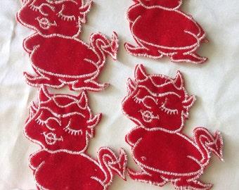 4 Little Red Devil Appliques 1973