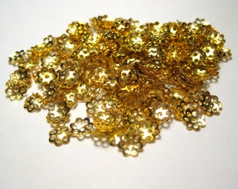 100pcs Gold Plated Bead Caps 6mm Jewelry Supplies