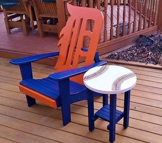Detroit Tiger Adirondack Chair With Baseball Table Pick Up