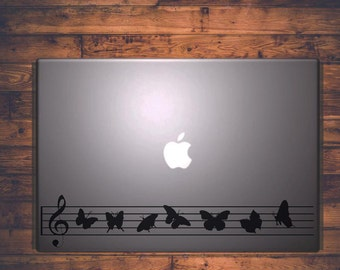 Macbook Sticker Music Butterflies