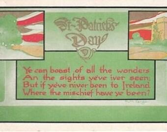 St. Patrick's Day Vintage Postcard 1915 Castle Ruth Fargo Verse