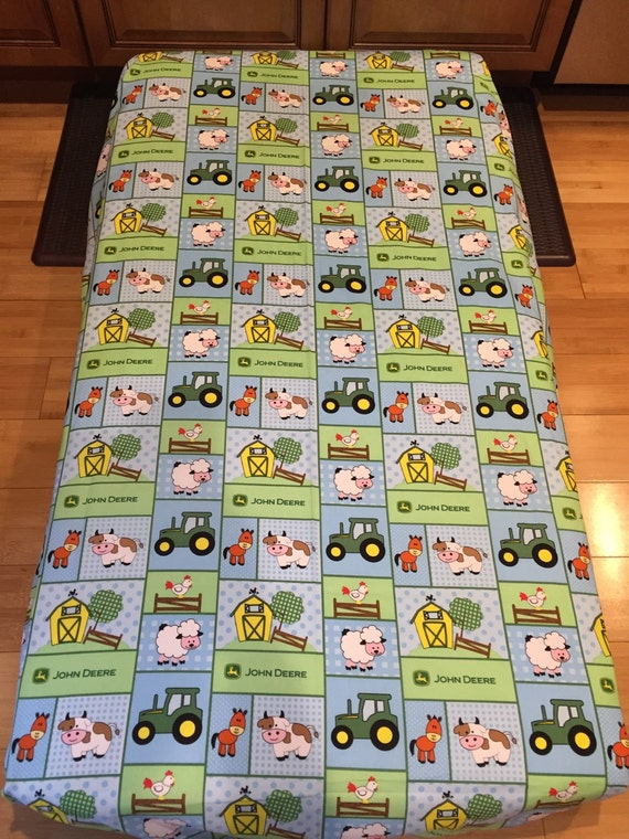 John Deere Crib Toddler Bed Fitted Sheet Baby Farm By