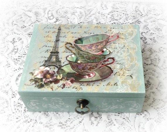 Wooden tea box jewelry box decoupage box vintage style - Como decorar cajas de madera estilo vintage ...