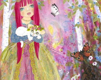 "Princess Katya and Snow the cat  Art Print 8"" x 10"" girl's wall art,bedroom wall art,by Wendy Wadge"