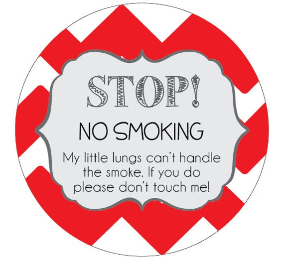 No Smoking sign Preemie, newborn, baby car seat tag, baby shower gift, stroller tag, baby car seat sign