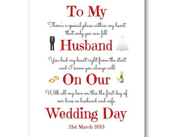 Unique Personalised Husband, Wife Wedding Day Card - Personalized Wedding Day Card, Husband To Be Card Wedding, Wife To Be  Wedding Card Gay