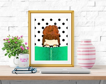Bella Bookworm -- Watercolor Print -- Home Decor -- Read Colorfully