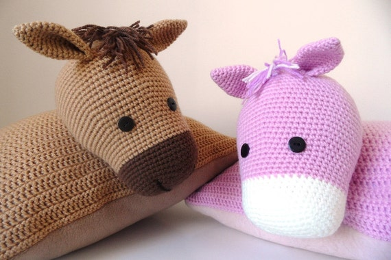 Animal Pillow Knitting Patterns : Items similar to Pink Crochet Pony Pillow Pal, Knitted Animal Cushion Pal on Etsy