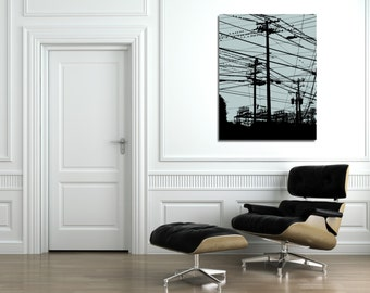 Birds on Power Lines (Grey Skies) - CUSTOMIZE IT - Wall Art Digital Print - Home Decor - Various Sizes