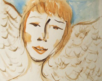 Angel Painting on Paper, Original Watercolor Painting, Guardian Angel, Small Paintings, Angel Art