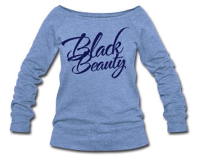 Black Beauty Wide Neck Off Shoulder Slouchy Women's Sweatshirt - Lt. Blue