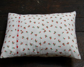 Classic Strawberries on White with Lace Trim Baby Pillow Case and Travel Pillow
