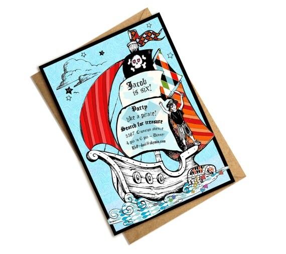 Digital Birthday Boy Pirate Ship Invitation