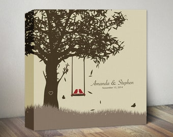 Wedding Gift for Couples Gift Wedding Anniversary for Her Him Wedding anniversary Canvas Print Anniversary Tree Love Birds Engagement Gift