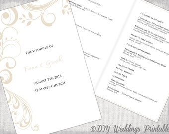 "Catholic Wedding program template Champagne ""Scroll"" DIY printable order of ceremony booklet Pale ecru program templates download"