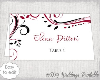 """Place card template Red and Black """"Scroll"""" name cards DIY wedding printable place card templates Apple red / black YOU edit instant download"""