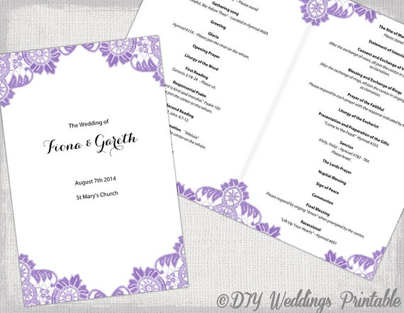 catholic wedding program template wisteria lavender. Black Bedroom Furniture Sets. Home Design Ideas