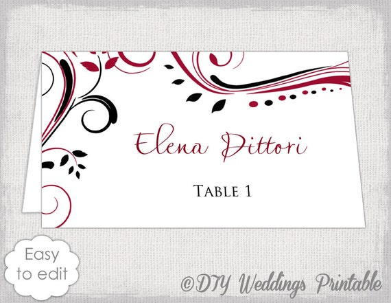 place card template red and black scroll name