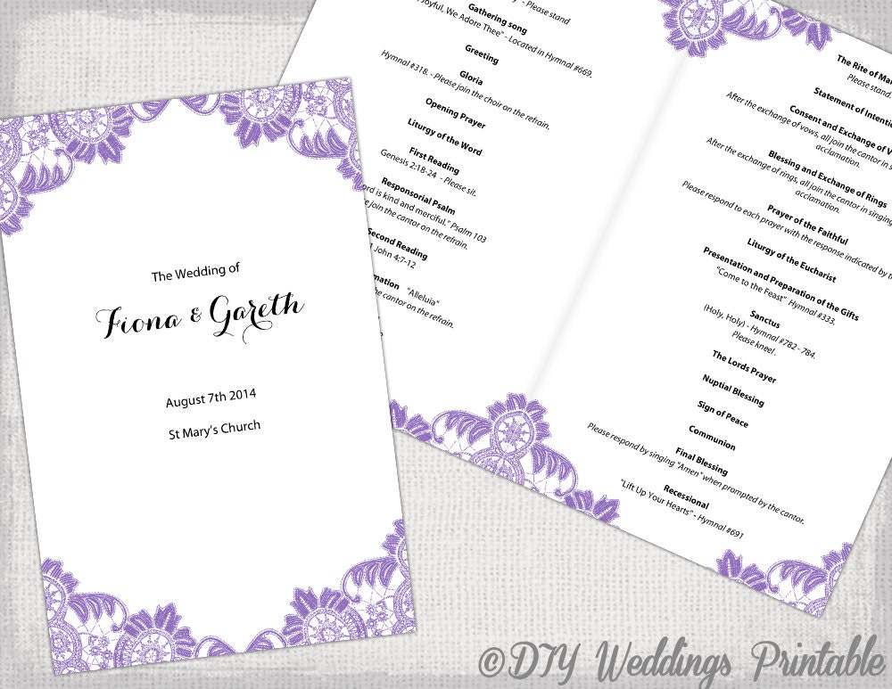 Catholic wedding program template wisteria lavender for Catholic wedding mass booklet template