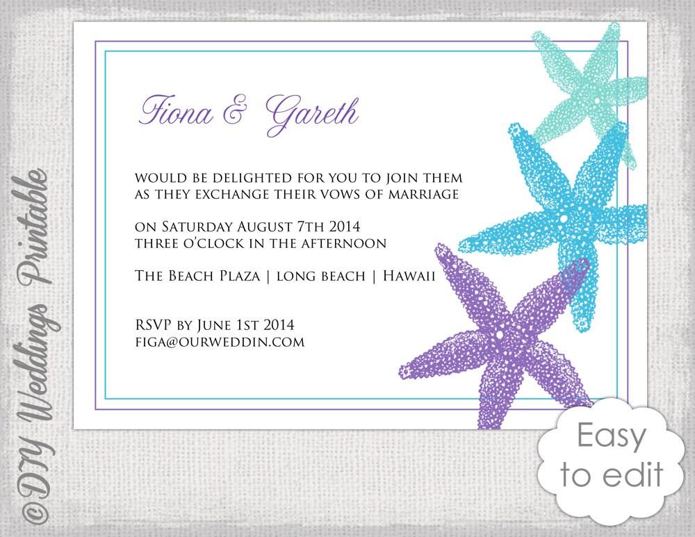 Beach Wedding Invitation Wording: Beach Wedding Invitation Template Starfish