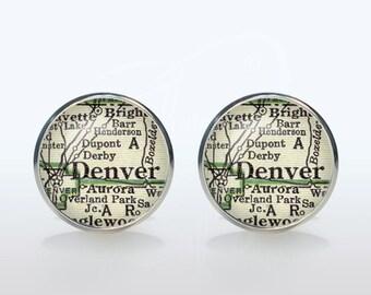 Denver map Cufflinks Silver plated Denver vintage map Cuff links men and women Accessories Antique black green