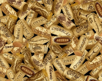 Wine Corks Fabric Fat Quarter, Third Yard, Half Yard, By The Yard; C1377 Timeless Treasures; Novelty Fabric; Wine Fabric